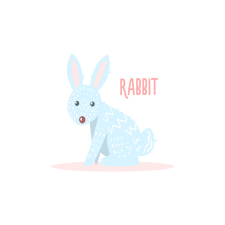 simplified: Rabbit Drawing For Arctic Animals Collection Of Flat Vector Illustration In Creative Style On White Background