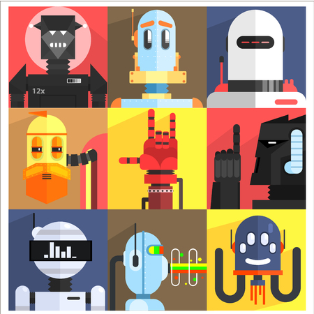 robot hand: Set Of Different Cartoon Robots Isolated On Colorful Backgrounds In Childish Weird Vector Design Illustration