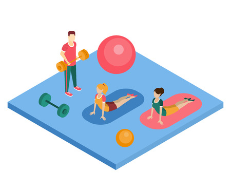 working out: People Working Out In Gym Primitive Bright Colors 3d Design Vector Illustration On White Background