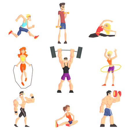 Gym People Set Of  Cool Cartoon Style Geometrical Flat Vector Illustrations Isolated On White Background