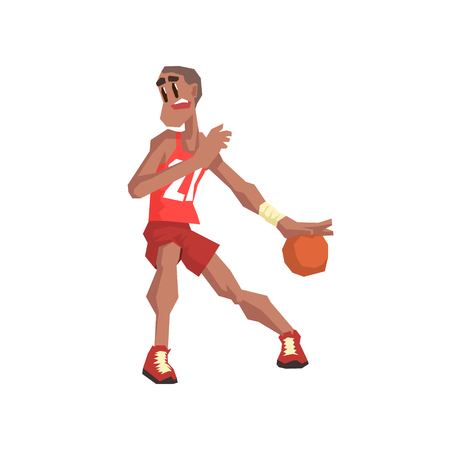 cool guy: Basketball Player Cool Cartoon Style Geometrical Flat Vector Illustration Isolated On White Background