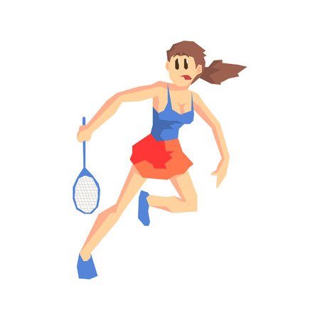 wimbledon: Tennis Player Cool Cartoon Style Geometrical Flat Vector Illustration Isolated On White Background