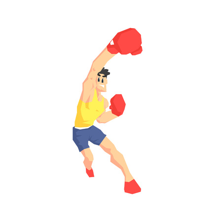 muscly: Boxer Attacking Cool Cartoon Style Geometrical Flat Vector Illustration Isolated On White Background