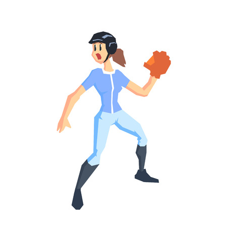 teammate: Baseball Player Cool Cartoon Style Geometrical Flat Vector Illustration Isolated On White Background
