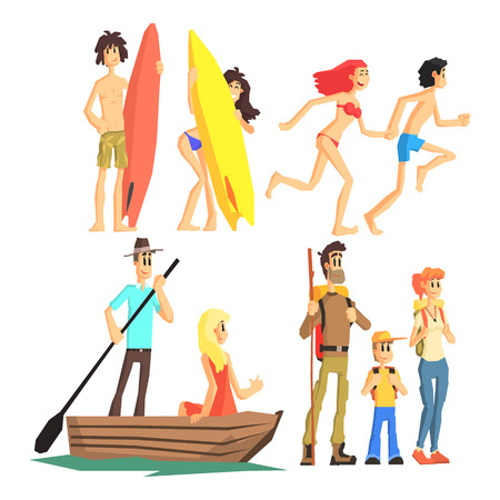couple hiking: Active Summer Leisure Flat Vector Simplified Childish Cartoon Style Set Of Illustrations Isolated On White Background