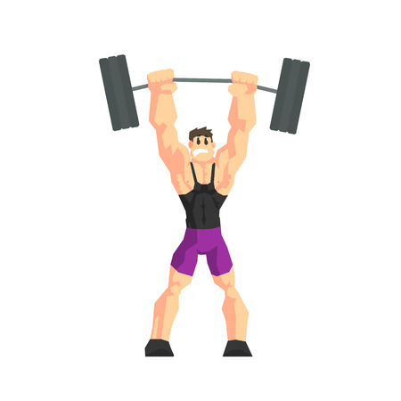 weight lifter: Weight Lifter Cool Cartoon Style Geometrical Flat Vector Illustration Isolated On White Background