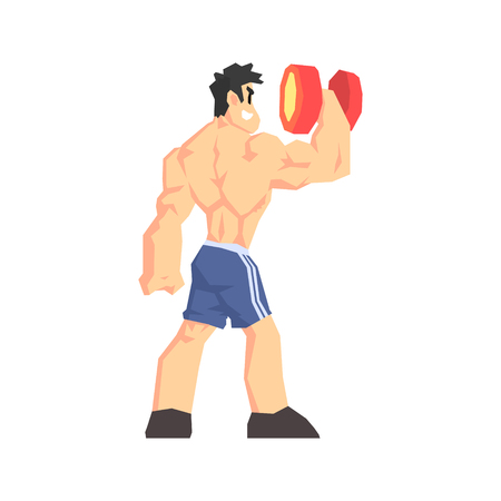 muscly: Weightlifter From Behind Cool Cartoon Style Geometrical Flat Vector Illustration Isolated On White Background Illustration