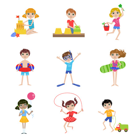 sand beach: Kids On Summer Vacation  Cartoon Cute Flat Vector Funny Images Set Isolated On White Background Illustration