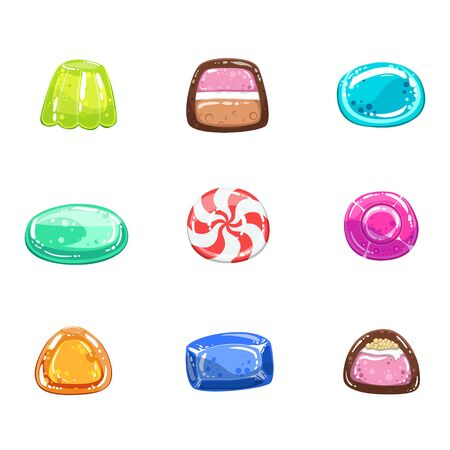 liquorice: Multi-coloured Sweets  Set Of  Flat Vector Icons In Cartoon Style Isolated On White Background