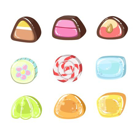 liquorice: Sweets Set Of Colorful Flat Vector Icons In Cartoon Style Isolated On White Background Illustration