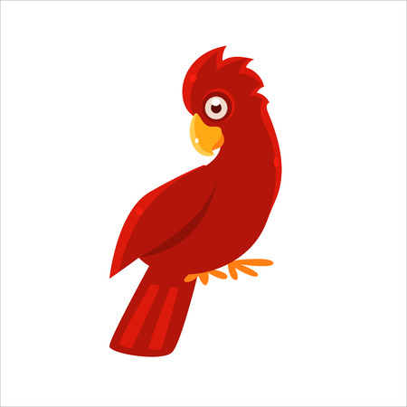 cockatoo: Red Cockatoo Parrot Flat Vector Illustration In Primitive Cartoon Style Isolated On White Background
