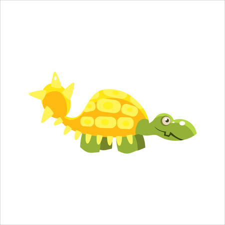 ankylosaurus: Armored Dinosaur Smiling Flat Vector Illustration In Primitive Cartoon Style Isolated On White Background