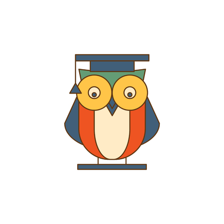mantle: Owl in Mantle Flat Outlined Vector Design Logo With Text On White Background