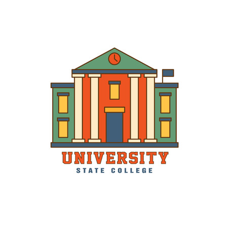 pillars: Building With Pillars University Flat Outlined Vector Design  With Text On White Background