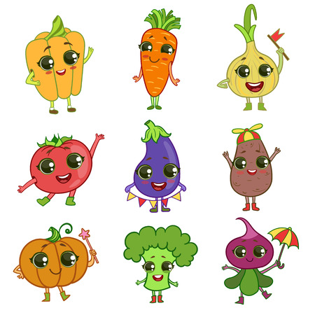 outlined isolated: Vegetables Illustration Set Of Flat Outlined Isolated Cartoon Humanized Characters In Cute Girly Style On White Background
