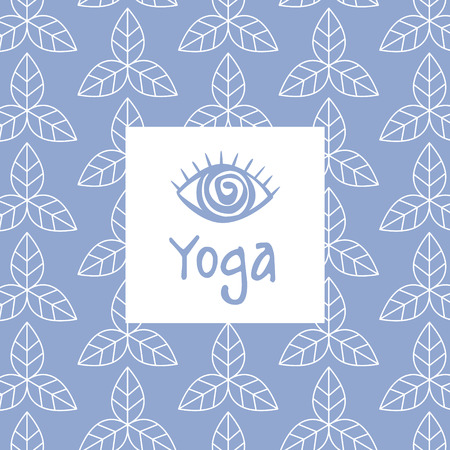 third eye: Third Eye Yoga Studio Design Card In Pastel Colors Flat Vector Design On Ornamental Background
