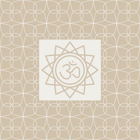 sanskrit: Om In Frame Yoga Studio Design Card In Pastel Colors Flat Vector Design On Ornamental Background