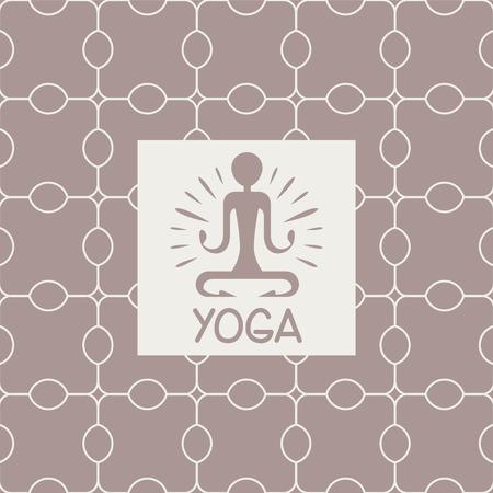 enlightenment: Enlightenment Yoga Studio Design Card In Pastel Colors Flat Vector Design On Ornamental Background
