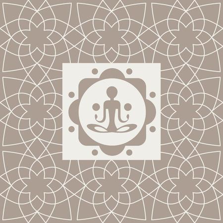karma graphics: Abstract Yogi Yoga Studio Design Card In Pastel Colors Flat Vector Design On Ornamental Background Illustration