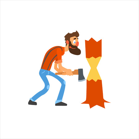 woodcutter: Profession Woodcutter Primitive Cartoon Style Isolated Flat Vector Illustration On White Background