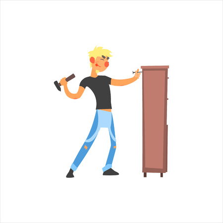 cartoon carpenter: Profession Carpenter Primitive Cartoon Style Isolated Flat Vector Illustration On White Background