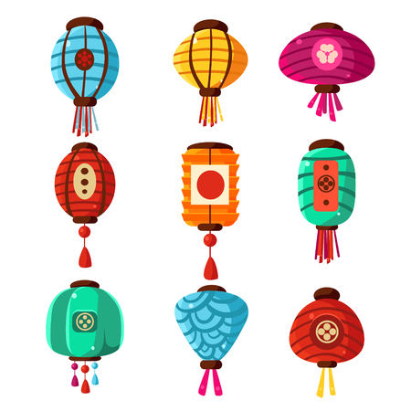 chineese: Chineese Lanters Decoration Colorful Fun Set Of Different Shape Objects Flat Vector Design