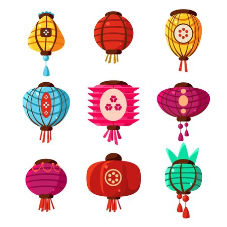 chineese: Chineese Lanters Decoration Colorful Fun Collection Of Different Shape Objects Flat Vector Design