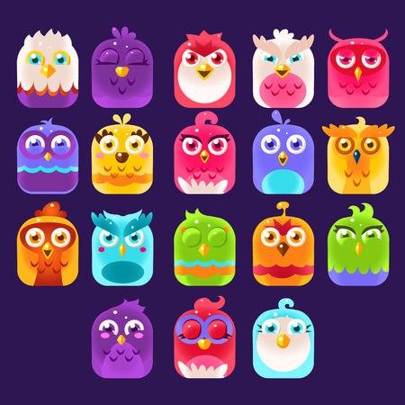 Fantasie Vogels Kleurrijke Bright kinderachtig Cartoon stijl Icons Set voor Smartphone Flat Vector Design geïsoleerd op donkerblauwe achtergrond