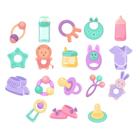 Nursery Gegenstände Sammlung von Flach Vektor-Pastellfarben-Illustrationen auf weißen Hintergrund Vektorgrafik