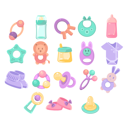 nursing clothes: Nursery Objects Collection Of Flat Vector Pastel Color Illustrations Isolated On White Background