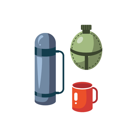 thermos: Thermos, Mug And Flask Cartoon Simple Style Colorful Isolated Flat Vector Illustration On White Background Illustration