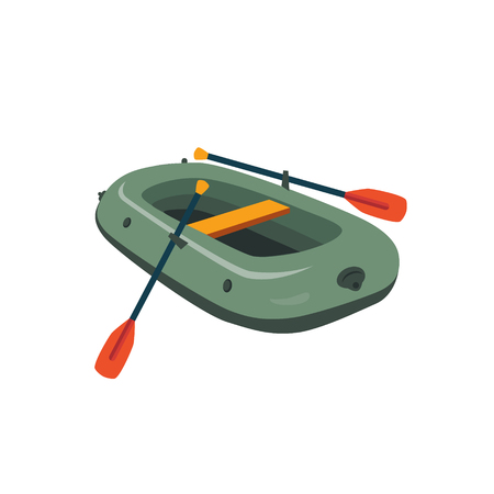 zodiak: Inflatable Boat With Peddles Cartoon Simple Style Colorful Isolated Flat Vector Illustration On White Background