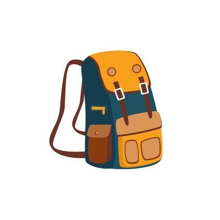 Rucksack mit gelben Taschen Cartoon-einfache Art bunten isoliert Flach Vektor-Illustration auf weißem Hintergrund