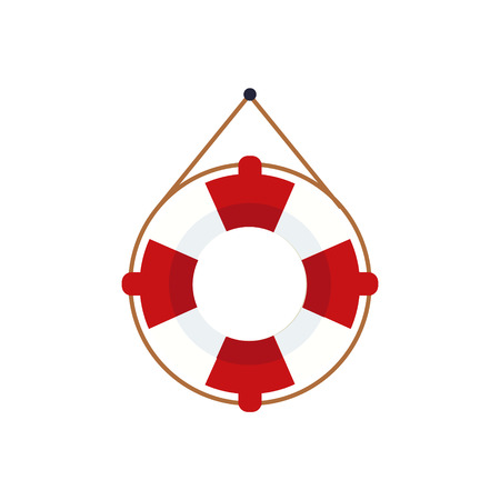 simple life: Life Preserver For The Boat Cartoon Simple Style Colorful Isolated Flat Vector Illustration On White Background