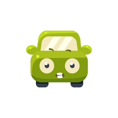 clenching: Scared Green Car Emoji Cute Childish Style Character Flat Vector Icon