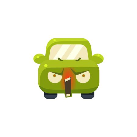 enraged: Enraged Green Car Emoji Cute Childish Style Character Flat Vector Icon