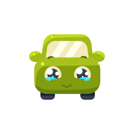 begging: Begging Green Car Emoji Cute Childish Style Character Flat Vector Icon