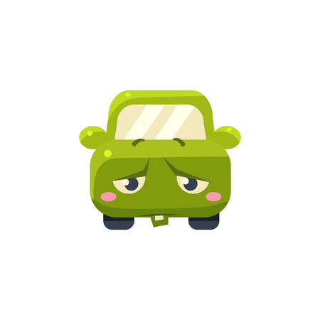 childish: Upset Green Car Emoji Cute Childish Style Character Flat Vector Icon