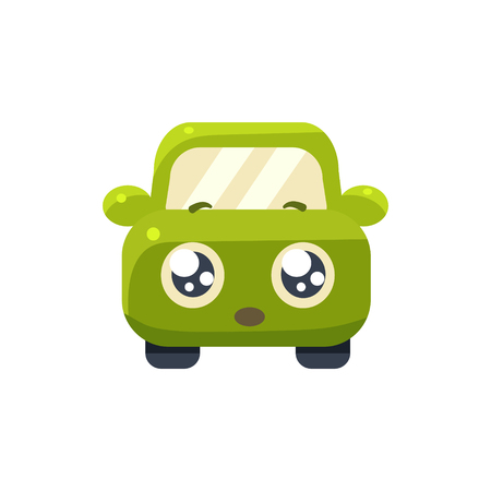hopeful: Hopeful Green Car Emoji Cute Childish Style Character Flat Vector Icon