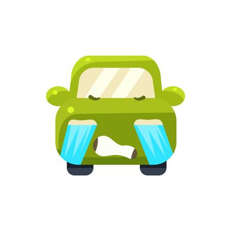 tearful: Tearful Green Car Emoji Cute Childish Style Character Flat Vector Icon