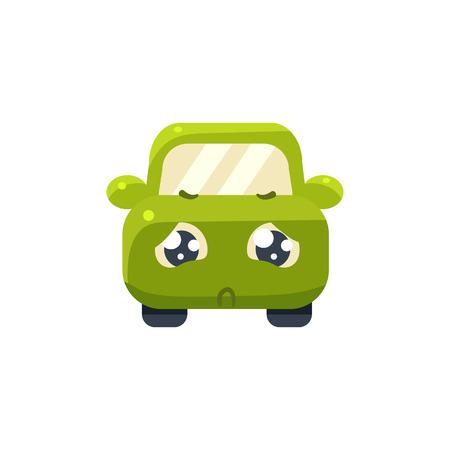 hopeless: Hopeless  Green Car Emoji Cute Childish Style Character Flat Vector Icon Illustration