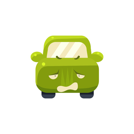 childish: Disappointed Green Car Emoji Cute Childish Style Character Flat Vector Icon Illustration