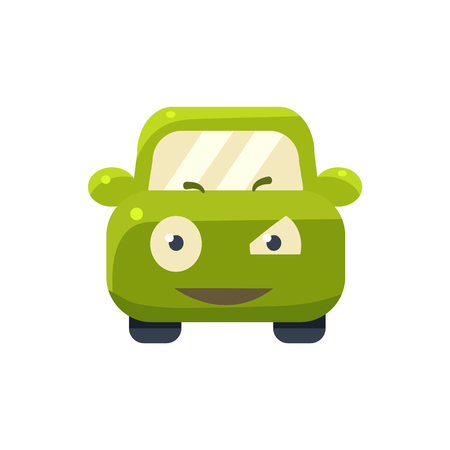 suspicious: Suspicious Green Car Emoji Cute Childish Style Character Flat Vector Icon