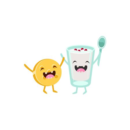 yoghurt: Yoghurt And Biscuit Cartoon Friends Colorful Funny Flat Vector Isolated Illustration On White Background
