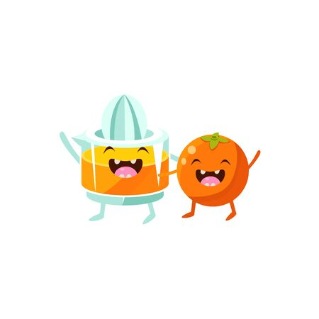 juice squeezer: Orange And Juice Squeezer Cartoon Friends Colorful Funny Flat Vector Isolated Illustration On White Background