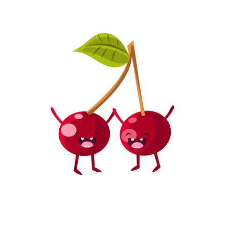 Cherries Cartoon Friends Colorful Funny Flat Vector Isolated Illustration On White Background Vetores