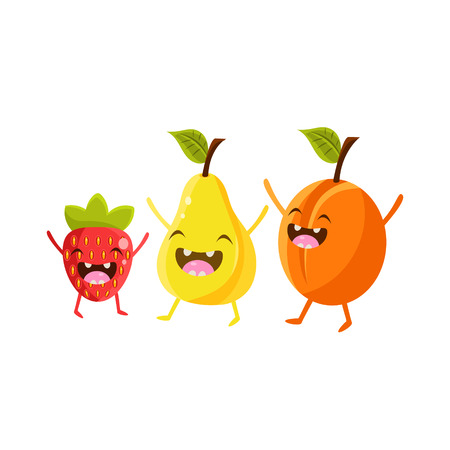 eatable: Strawberry, Pear And Plum Cartoon Friends Colorful Funny Flat Vector Isolated Illustration On White Background
