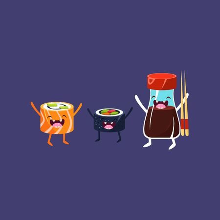 Two Rolls And Soya Cartoon Friends Colorful Funny Flat Vector Isolated Illustration On Blue Background
