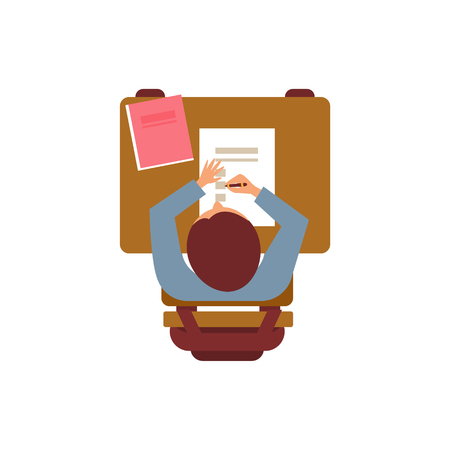 attending: Male Student With Textbook From Above Flat Isolated Primitive Style Design Vector Illustration On White Background