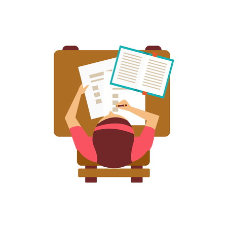 attending: Female Student With Test From Above  Flat Isolated Primitive Style Design Vector Illustration On White Background Illustration